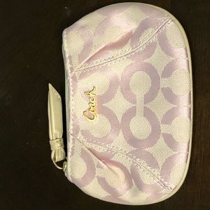 Authentic like new Coach pink keyring coin purse